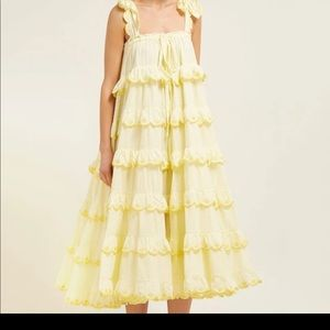 Flowy Yellow Ruffled Tiered Dress
